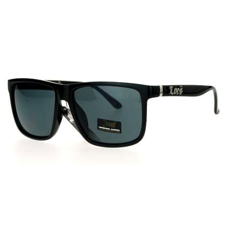 Locs Mens Gangster Oversized Rectangular Thin Horned Sunglasses Shiny Black