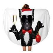 NUDECOR 60 inch Round Beach Towel Blanket Santa Claus French Bulldog Dog Toasting Xmas Cheers Champagne Travel Circle Circular Towels Mat Tapestry Beach Throw
