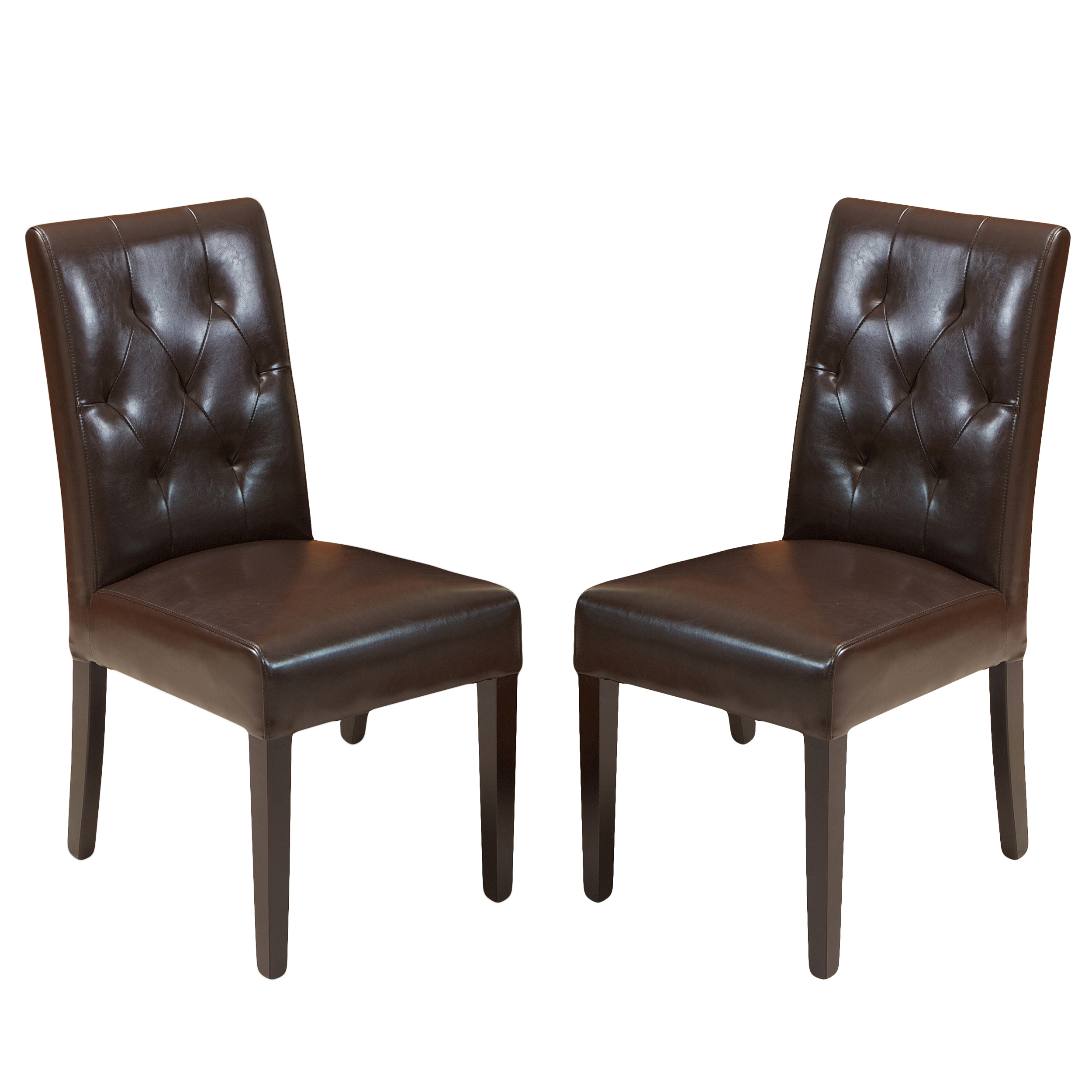 Falo Bonded Leather Brown Dining Chair (Set of 2)