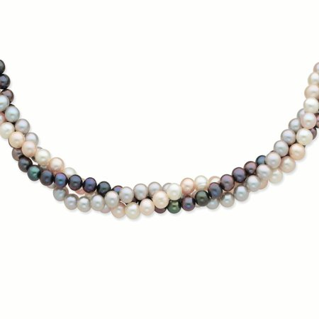 14kt Yellow Gold 7mm Multicolor Freshwater Cultured Pearl 3 Strand Chain Necklace Pendant Charm Fine Jewelry Ideal Gifts For Women Gift Set From Heart
