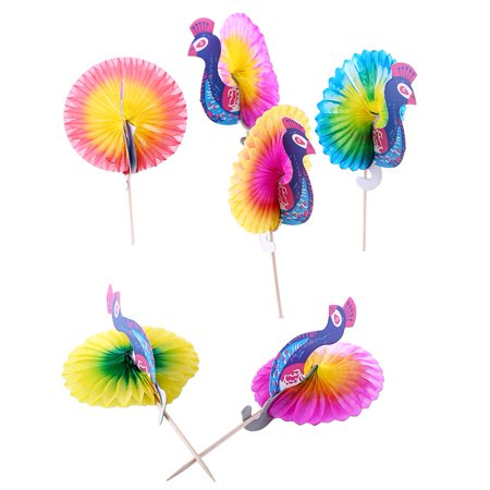 EECOO Parasol Umbrella Sticks,50pcs Drink Fruit Cake Sticks Picks Party Decor Peacock Umbrella Cocktail Firework Goldfish, Fruit Cake Picks - Umbrella Drink
