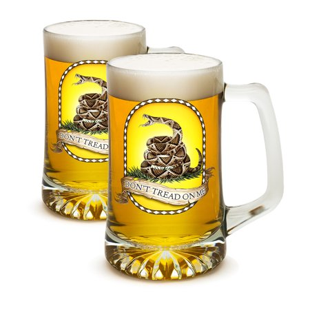 SET OF 2 Don't Tread On Me Rattlesnake Black 25 Ounce Tankard Beer Mugs by