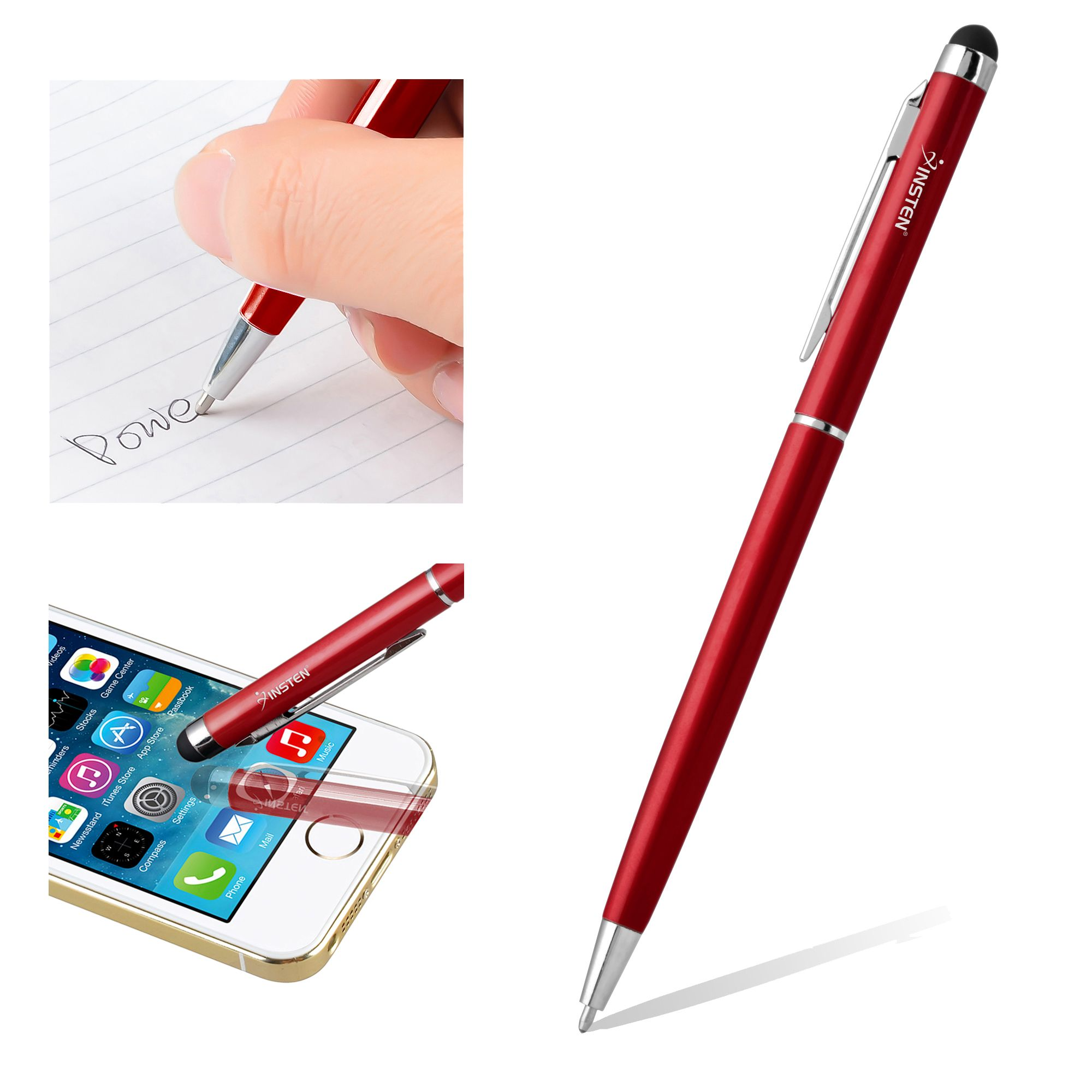 2 Pack Insten Red 2-in-1 Capacitive Stylus with Ball Point Pen for Samsung  Galaxy Tab E A S2 S3 4 3 View Tab LG G Pad Huawei Media Ematic RCA Lenovo