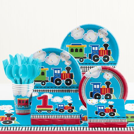 - All Aboard Train 1st Birthday Party Supplies Kit