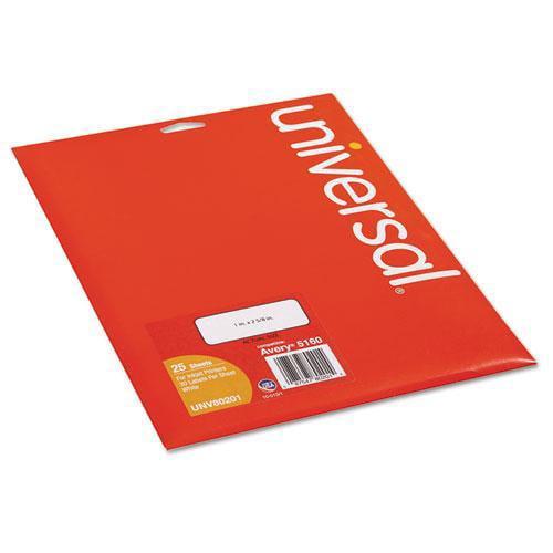 Universal 80201 Inkjet Printer Labels, 1 x 2 5/8, White, 750/Pack