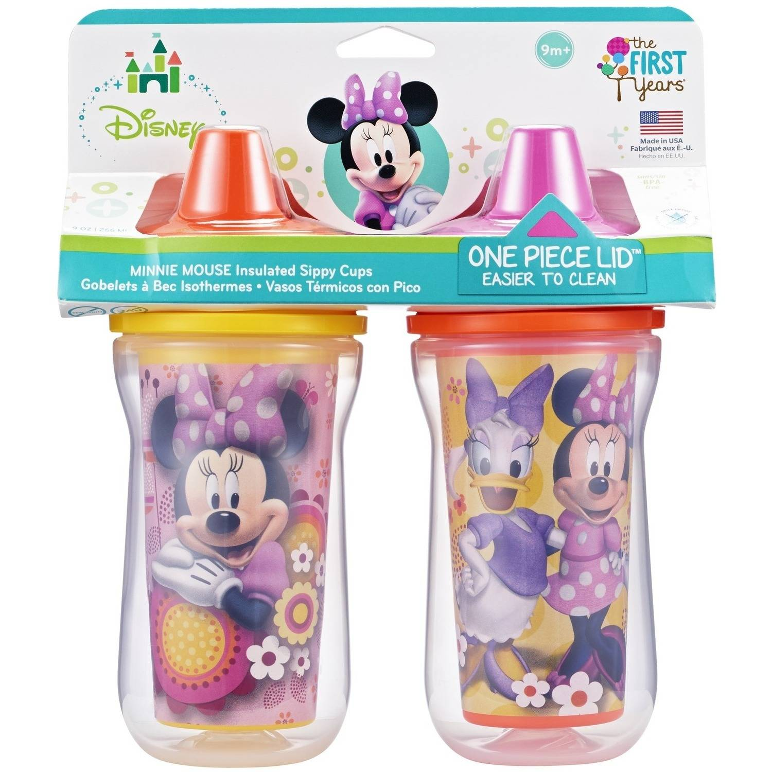 The First Years Disney Baby Minnie Mouse Insulated Sippy Cup with One Piece Lid, BPA-Free - 9 oz, 2 pack