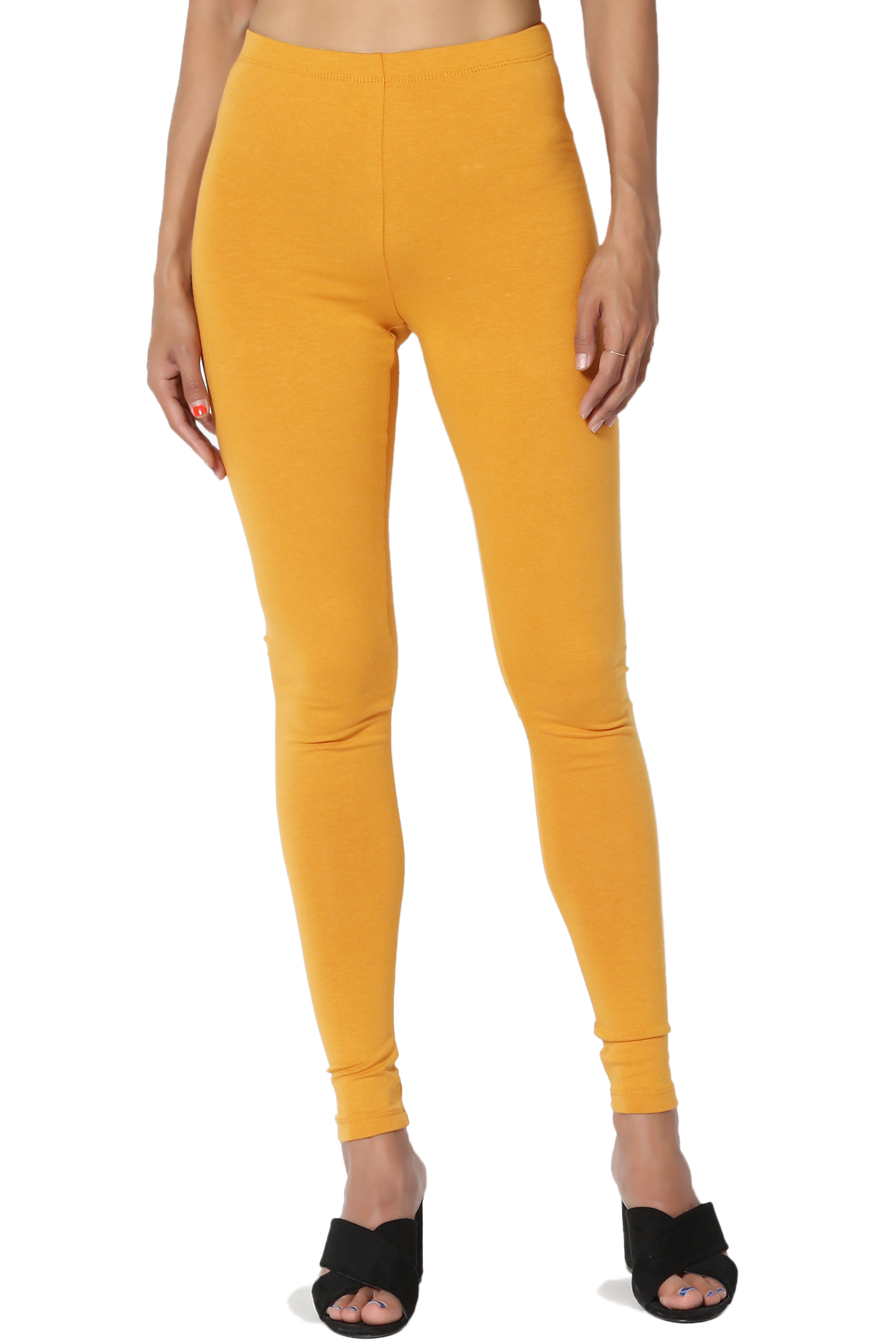 TheMogan Women's S~3X Cotton Jersey High Waist Long Full Length Ankle Leggings