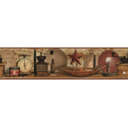 Country Keepsakes Country Coffee Border Wallpaper Brown Wall Doctor Wallpaper