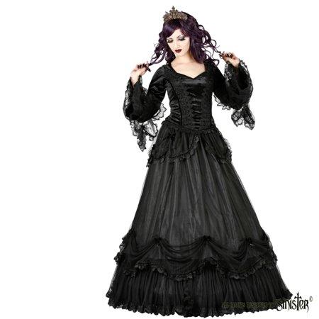 Sinister Gothic Plus Size Black Tiered Satin & Ruffled Mesh Velvet Bows  Long Skirt