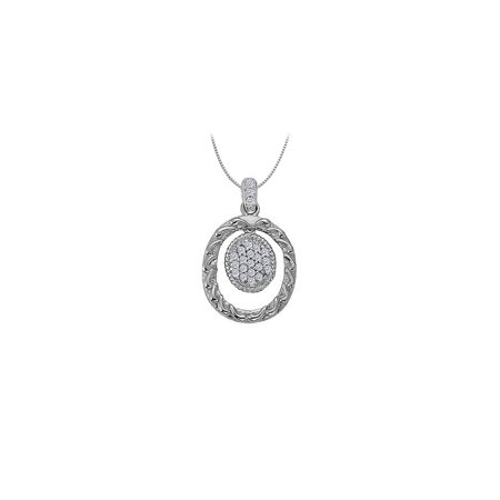 Jewelry Cubic Zirconia Oval Fashion Pendant in 14K White Gold 0.10 CT TGWPerfect Jewelry Gift for Women - image 1 of 1