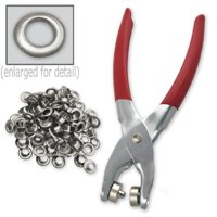 1/4 Grommet Eyelet Setting Pliers with 100 Silver Grommets