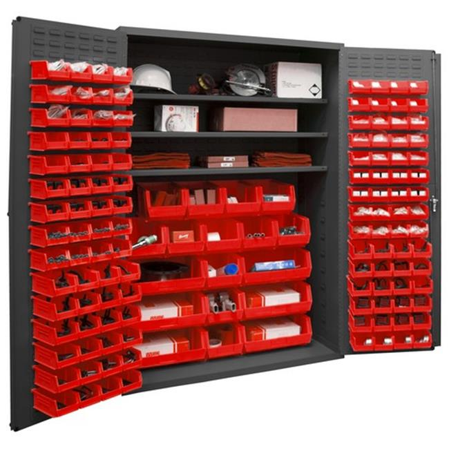 14 Gauge Flush Door Style Lockable Cabinet with 138 Red Hook on Bins & 3 Adjustable Shelves, Gray - 48 in.