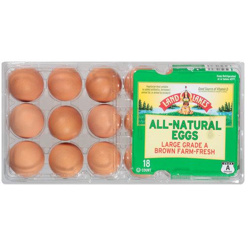Land O'Lakes Farm-Fresh All-Natural Large Grade A Brown Eggs, 18 ct