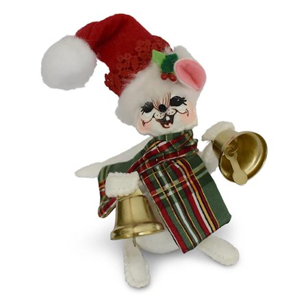 Annalee Dolls 5in 2018 Christmas Plaid Tidings Bell Mouse Plush New with Tags