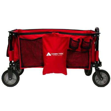 Ozark Trail Quad Folding Wagon with Telescoping Handle, Red