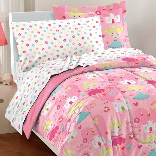 Dream Factory Pretty Princess Ultra Soft Microfiber Girls Comforter Set, Pink, Twin by