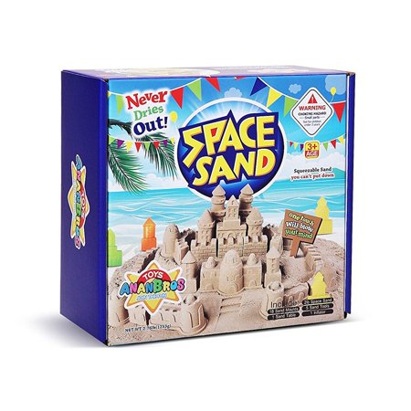 Kinetic Play Sand, Magic Space Sand Castle Building Kit, Squeezable Beach Sand 2 LB + Castle Molds and Sand Tray, Best Sand Toys for Kids by