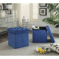 Foldable Storage Ottoman Cube Foot Rest, Blue (2 Pack)