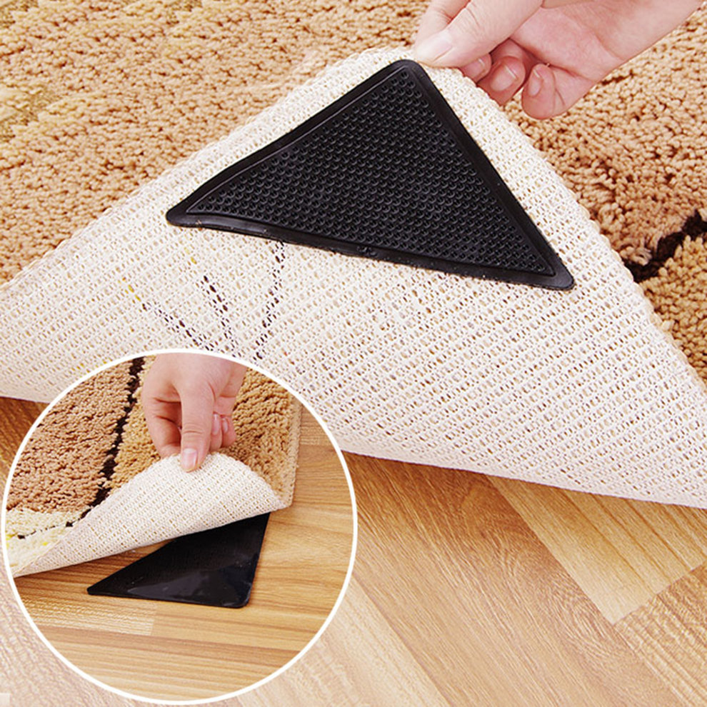 4 pcs Rug Carpet Mat Grippers Non Slip Anti Skid Reusable Silicone Grip Pads