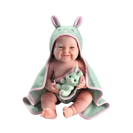 JC Toys La Newborn with Hooded Rabbit Towel - Realistic 17