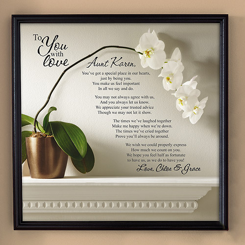 "Personalized ""To You with Love"", Canvas Framed Art, 16"" x 16"", Available in 2 Styles"