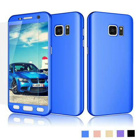 Njjex Phone Case Samsung Galaxy S7 S VII G930 GS7, Full Body Coverage Protection Scratch Proof Hard Slim With Tempered Glass Screen Protector Skin Case