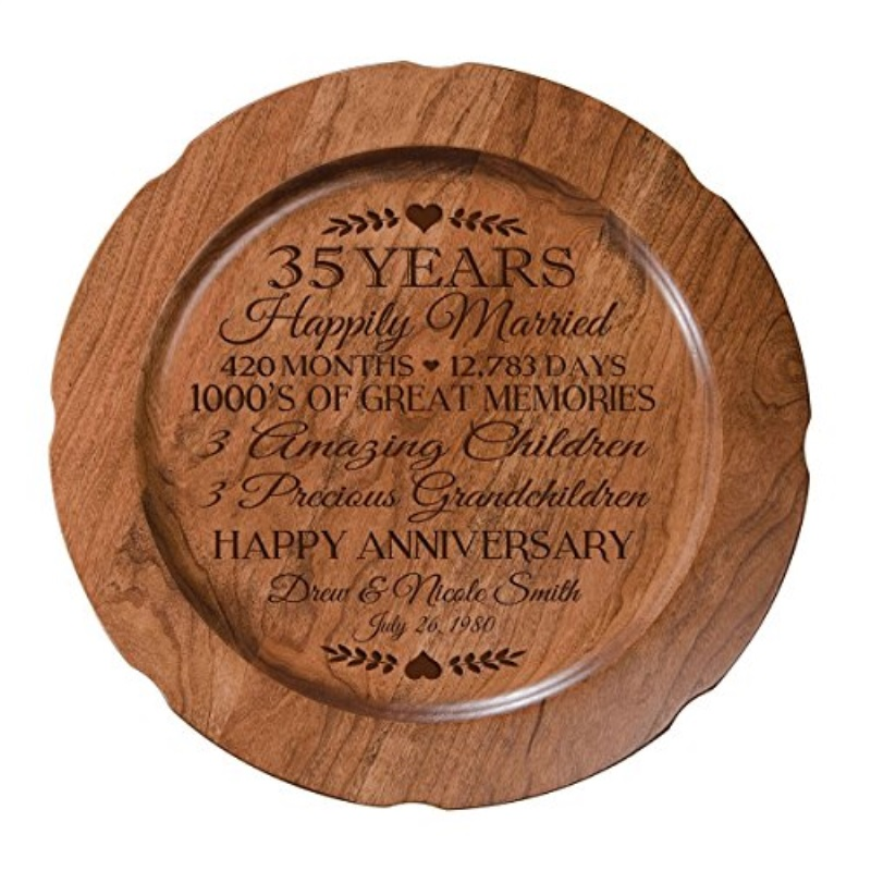 Personalized 35th Wedding Anniversary Plate Gift For Her