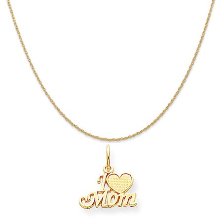 10k Yellow Gold Mom Charm on a 14K Yellow Gold Rope Chain Necklace, 16