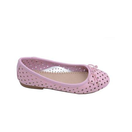 L Amour Toddler Girls Pink Perforated Bow Ballet Flats 7-10 Toddler -  Walmart.com 2b336b5bd