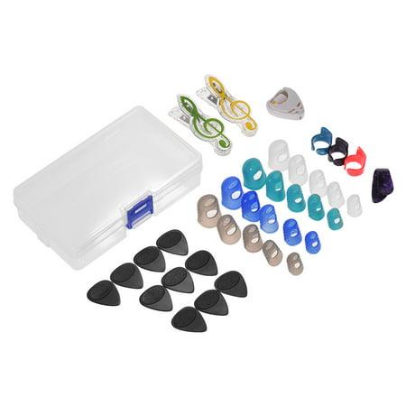 Guitar Accessories Kit Includes 20pcs Silicone Guitar Finger Protectors + 10pcs Guitar Picks + 4pcs Thumb & Finger Picks + Pick Holder + 2pcs Music Page Clips with Plastic Storage Box ()