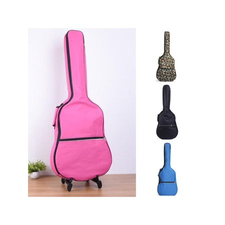 Meigar 41'' Waterproof Acoustic Guitar Bass Bag Gig Double Straps Padded Backpack (3 4 Double Bass Case With Wheels)