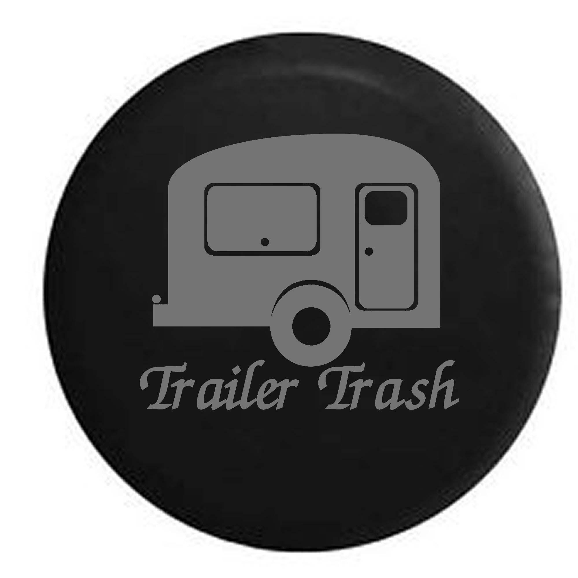 Trash Travel Camper RV Trailer Spare Tire Cover Vinyl Black 27.5 in