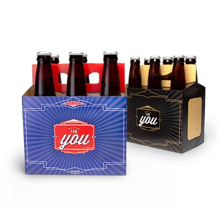 Brews For You - 6 Pack Greeting Card Beer Carrier Gift Box by Big Betty, 4 Pack (Big Boxes)