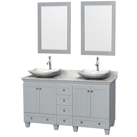 Wyndham Collection Acclaim 60 inch Double Bathroom Vanity in Oyster Gray, White Carrera Marble Countertop, Arista White Carrera Marble Sinks, and 24 inch Mirrors