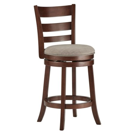 Weston Home Edmond Collection 24H in. Swivel Counter Height Stool - Ladder Back Design