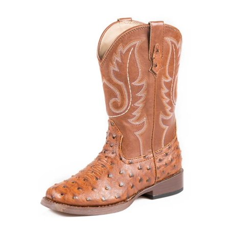 fb2bb17e3db Roper Western Boots Boys Kids Ostrich Tan 09-018-1900-0807 TA