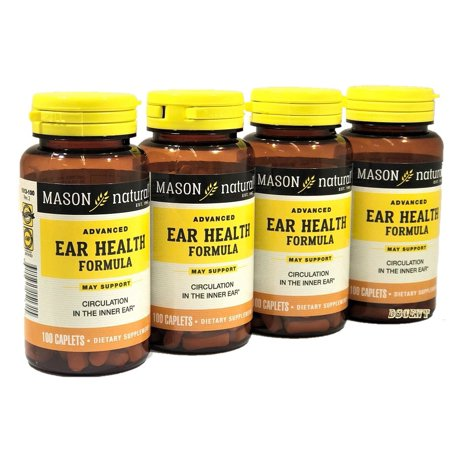 Ear Health Formula (4 Bottles of Mason Naturals Ear Health Formula Advance Formula 100 Caplets)