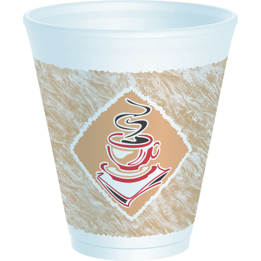 Dart Cafe G Hot/Cold Small Squat Red Accents Foam Cup White 12 oz. | 1000/Case
