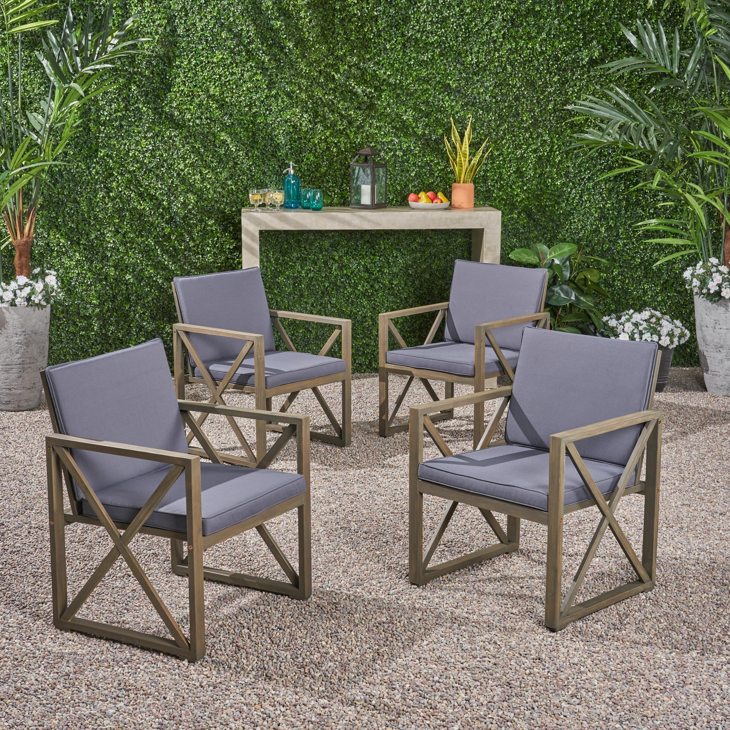 Maisie Outdoor Acacia Wood Club Chairs with Cushions, Set of 4, Gray, Dark Gray
