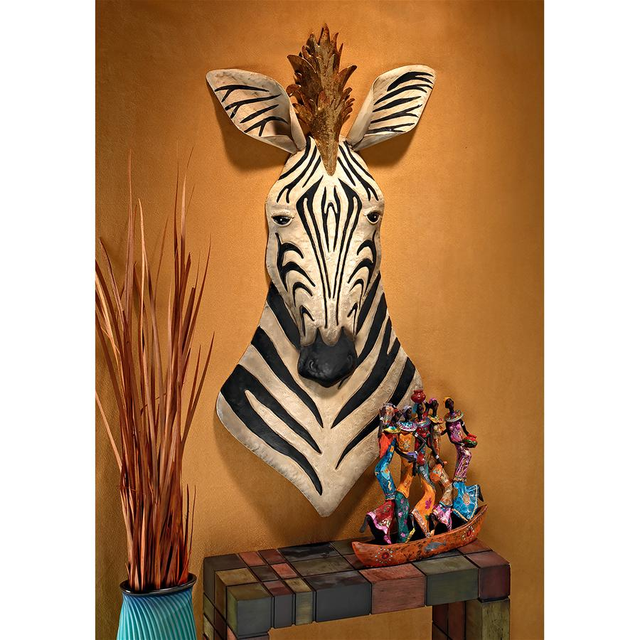 King of the Herd Safari Zebra Metal Wall Sculpture