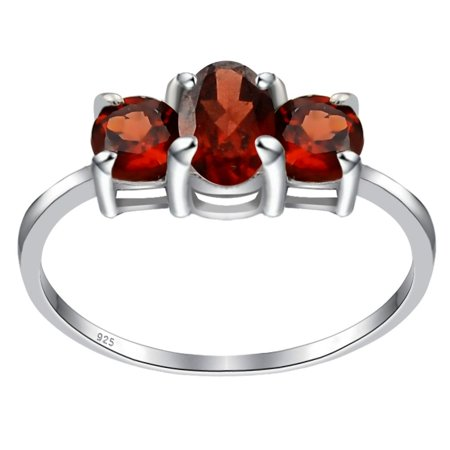 Sterling Silver Ring For Women | January Birthstone Ring | 1.25 Carat Red Garnet 3 Stone Engagement Ring by Orchid Jewelry | Simple. Beautiful. (Best Affordable Engagement Rings)
