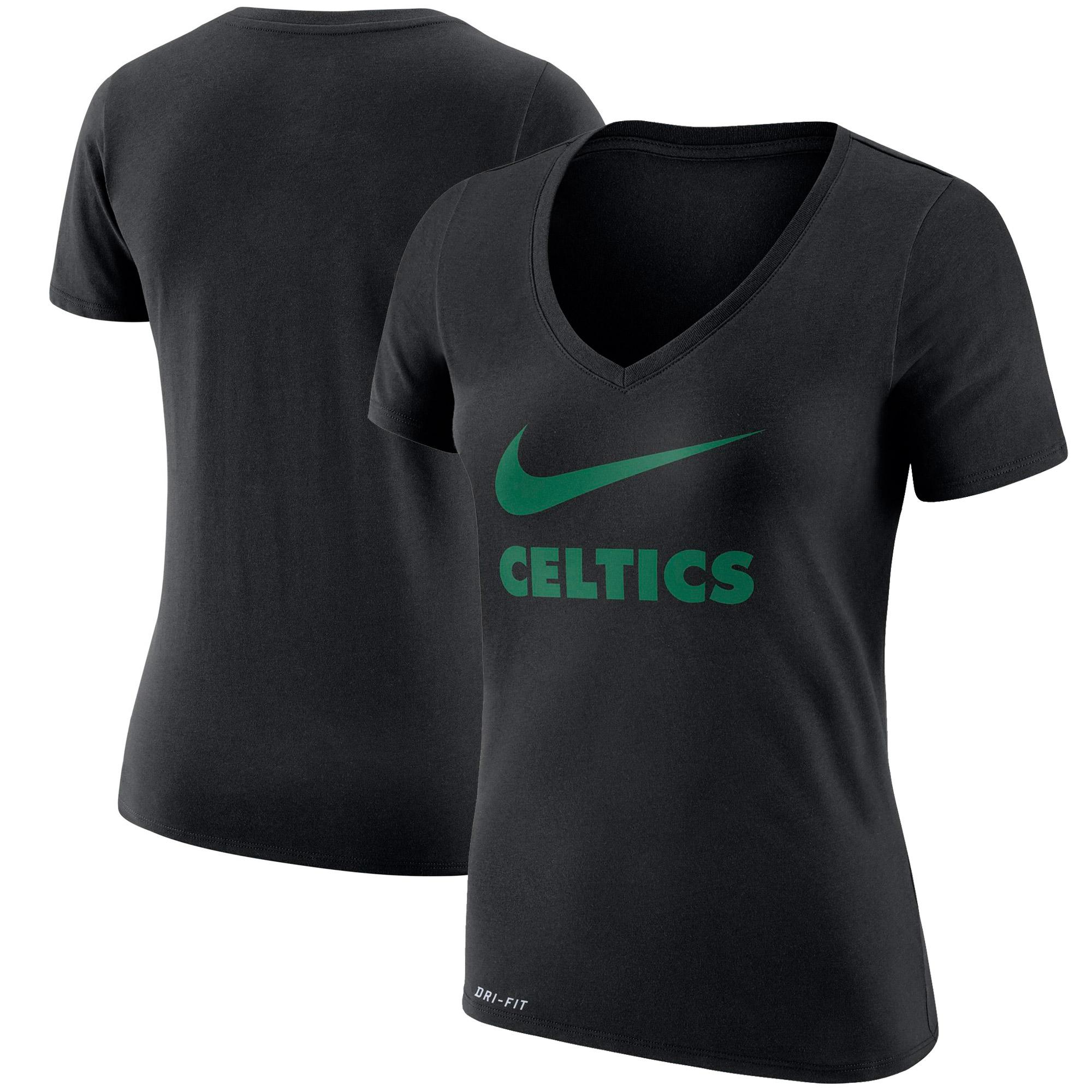 Boston Celtics Nike Women's Swoosh V-Neck T-Shirt - Black
