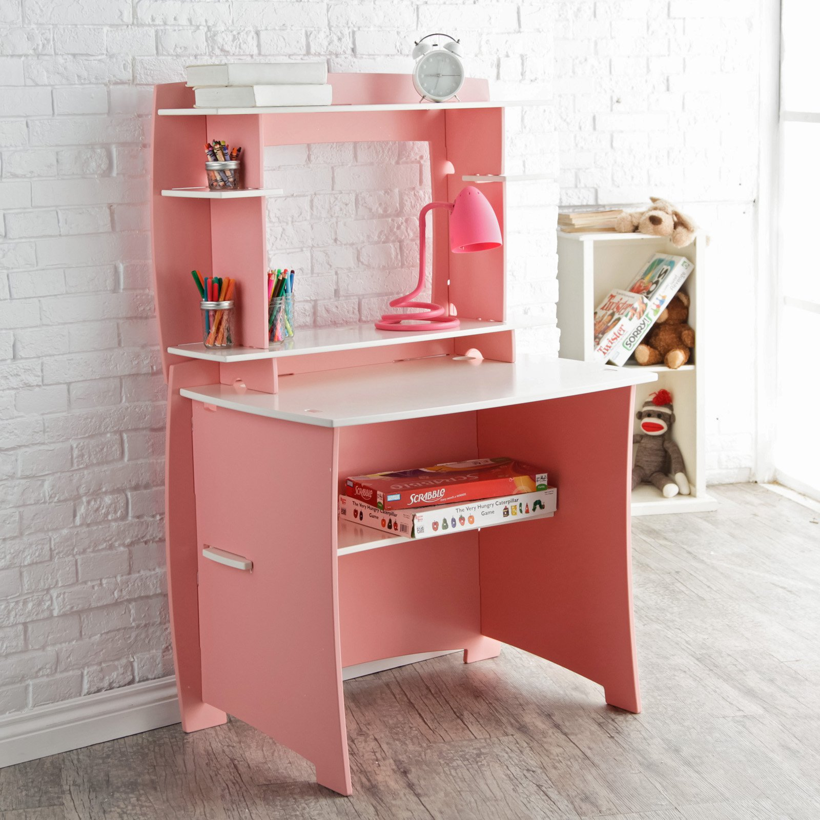 Legare 36 in. Desk with Hutch - Pink and White