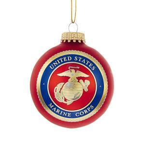 Marine Corps Logo Glass Ornament