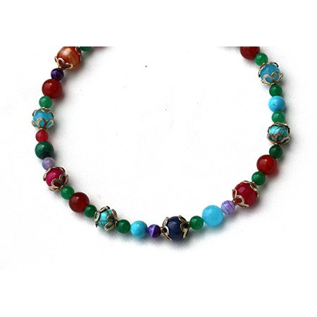 Gem Bead necklaces Lapis Turquoise Agate Botswana Impregnation Jadeite carnelian Indian Beads