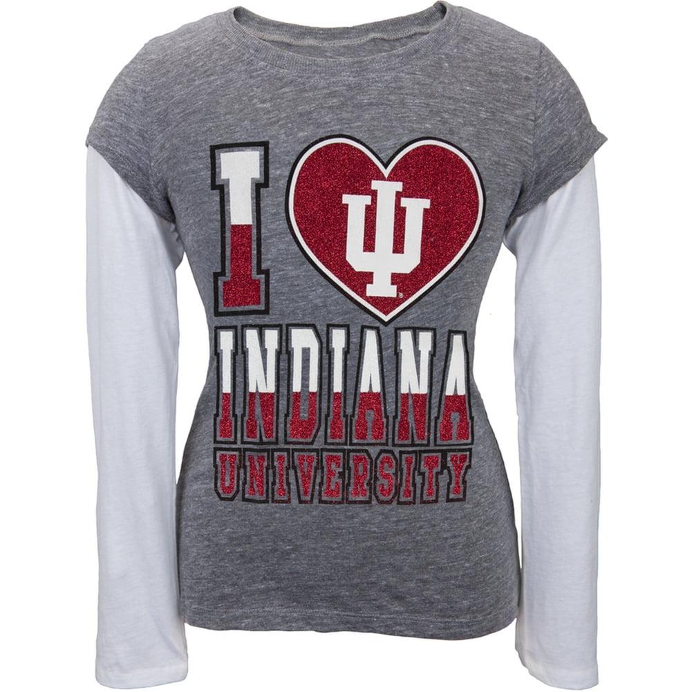 Indiana Hoosiers - Glitter I Heart Girls Juvy 2fer Long Sleeve T-Shirt