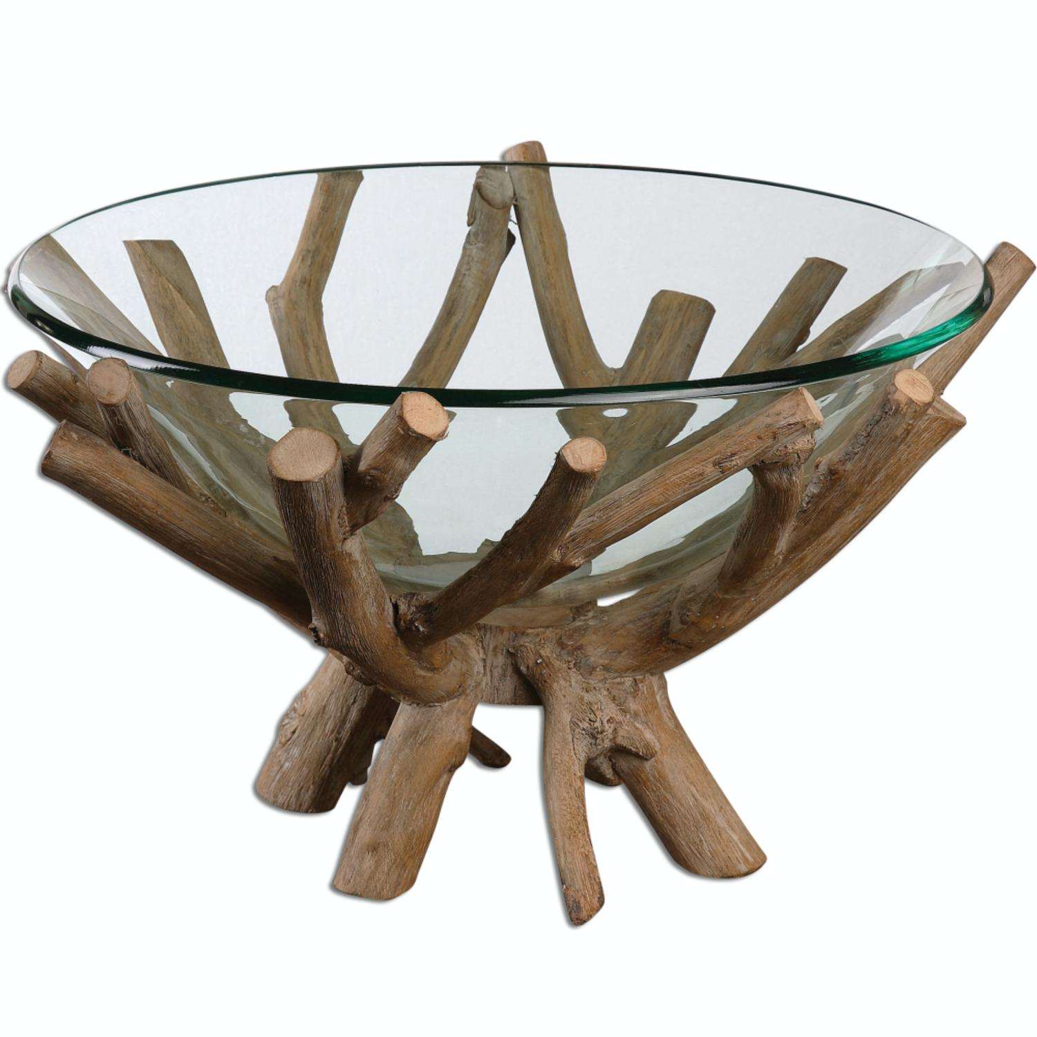 19 625 rustic lodge style decorative clear glass bowl with wooden base walmart com