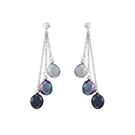 Honora 8-9 mm White Freshwater Cultured Baroque Pearl Chain Drop Earrings in Sterling Silver Baroque Pearl Drop Earrings