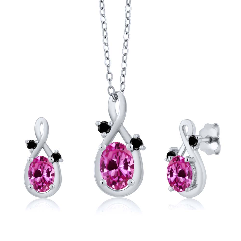 2.00 Ct Oval Pink Created Sapphire 14K White Gold Pendant Earrings Set by