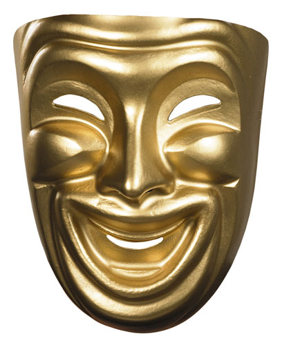 Gold Theatre Comedy Mask for Halloween Costume